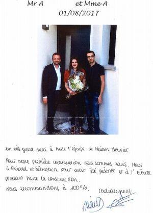 avis clients Maisons Bouvier, constructeur de maisons à pont saint martin, sud loire