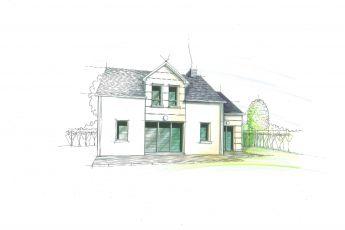 Maisons Bouvier : croquis de l'avant-projet à St Marc sur Mer proche Saint-Nazaire