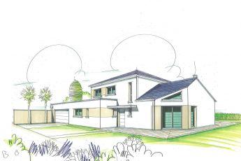Maisons Bouvier : perspective de la façade avant