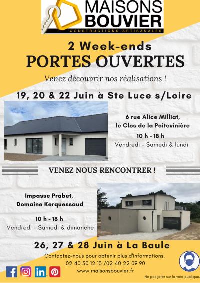 Maisons Bouvier, vous propose des portes ouvertes dans deux nouvelles constructions durant 2 semaines